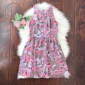 Rebecca Taylor Floral Racerback Silk Dress